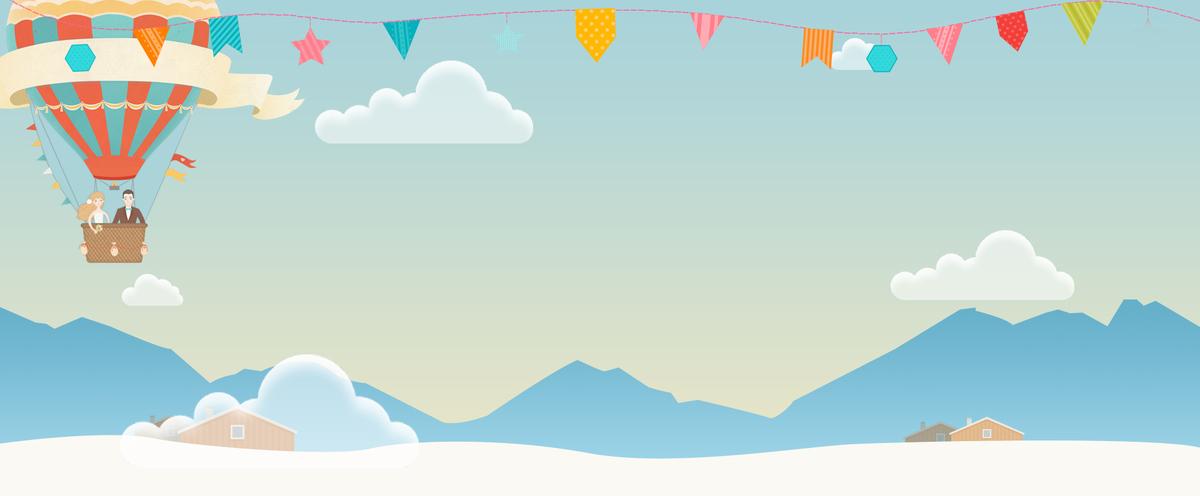 520情人节文艺手绘热气球白云蓝色背景