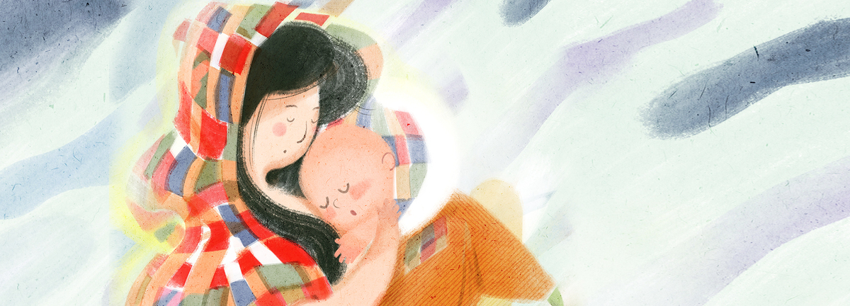 母亲节手绘亲情海报背景