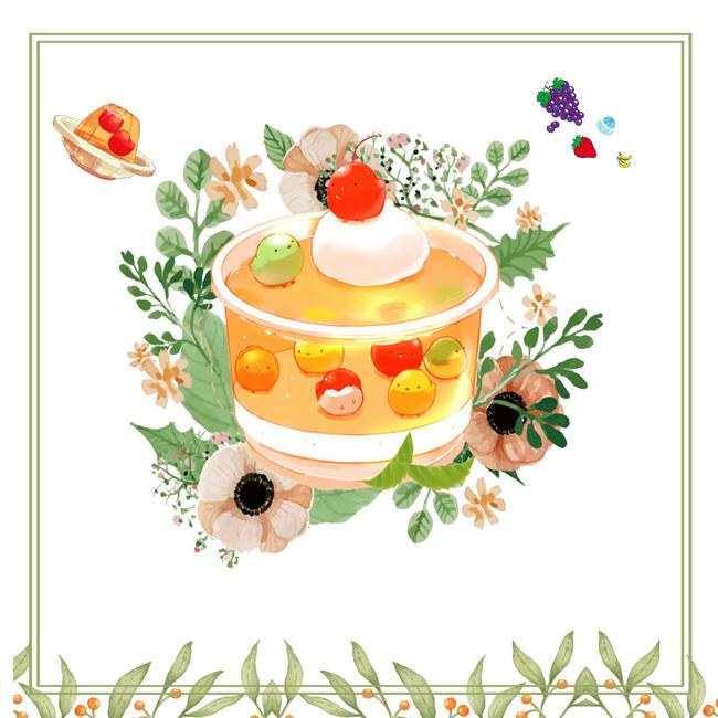 可爱手绘清新风树叶边框食物配图