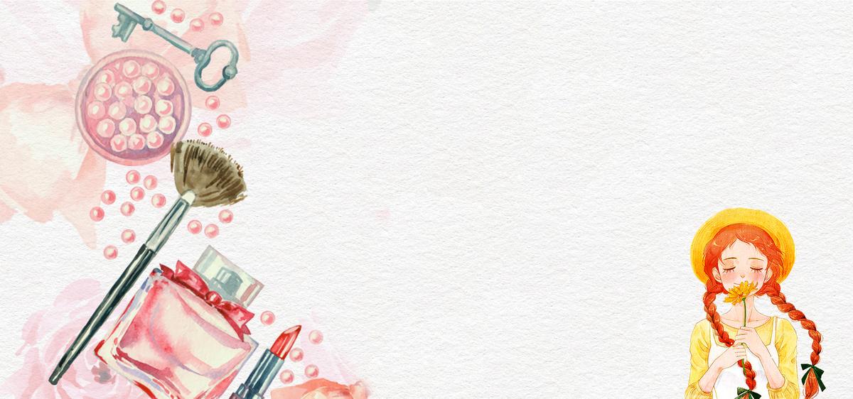 卡通手绘分美妆节文艺小清新女孩白色背景
