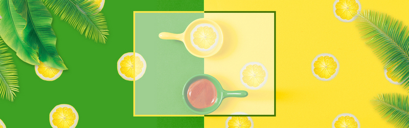 夏季上新化妆品黄绿色电商海报背景