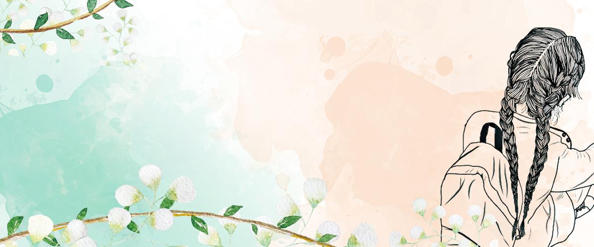90设计提供夏天文艺小清新白色花朵渲染水墨背景设计素材下载,高清psd