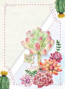 手绘多肉浪漫植物鲜花店矢量海报背景模板