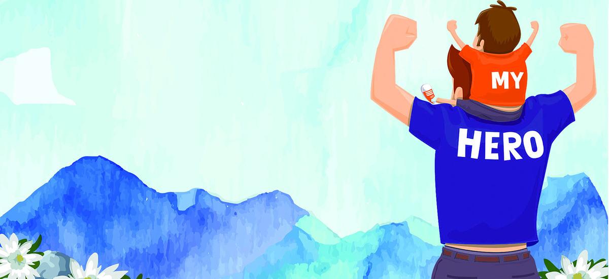父亲节蓝色水彩背景手绘父子海报背景