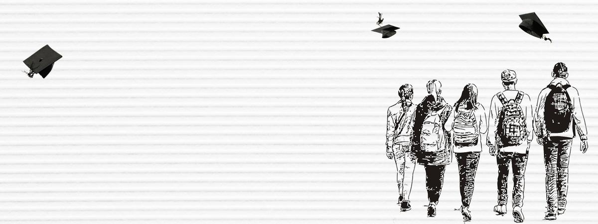 7月毕业季文艺手绘海报背景