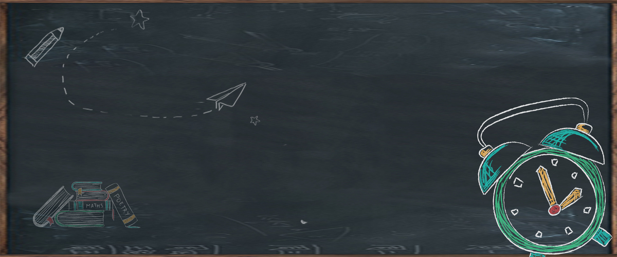 校园毕业季手绘黑板钟表黑色背景