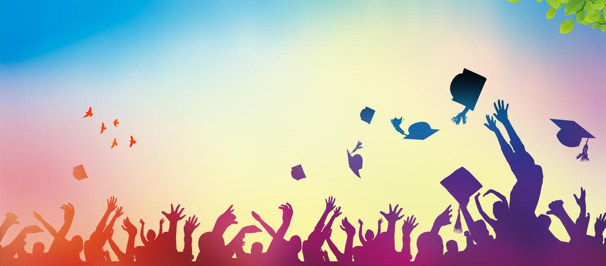 校园毕业季人物剪影渐变蓝色背景