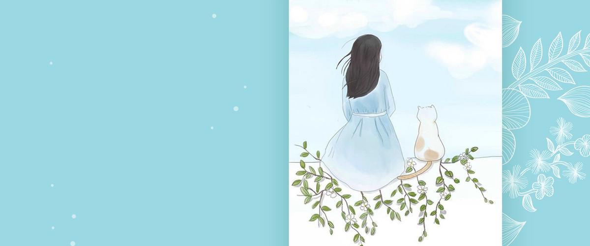 夏天温馨文艺小清新手绘女孩蓝色背景