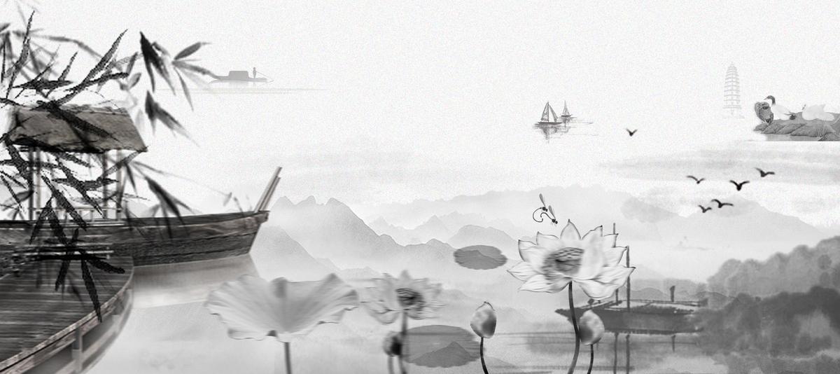 中国风 灰色 海报背景psd素材-90设计