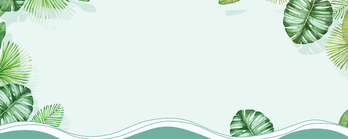 夏天文艺小清新绿叶手绘绿色背景
