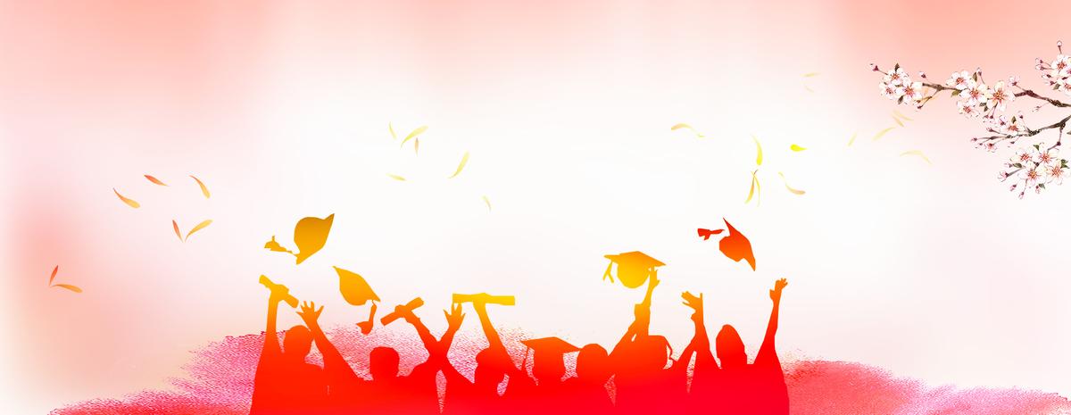 校园毕业季人物简约大气橙色背景
