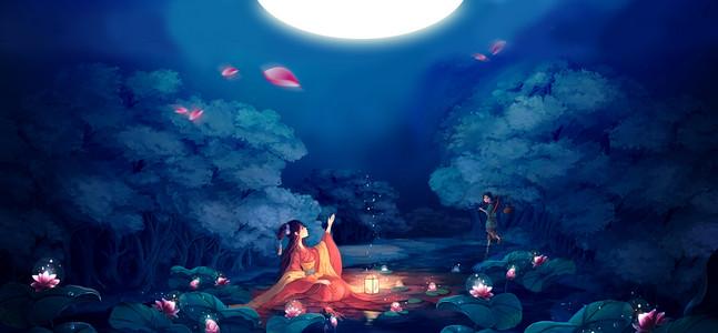 情定七夕鹊桥相会淘宝天猫蓝色背景