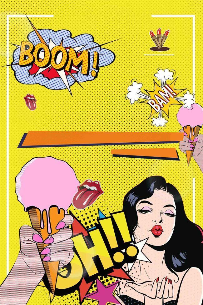 波普风夏日冰淇淋海报背景模板