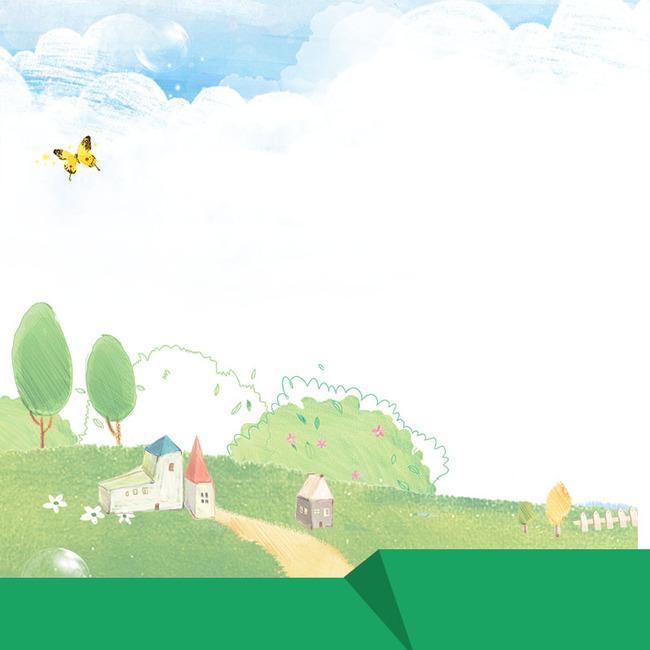 卡通童趣背景促销主图