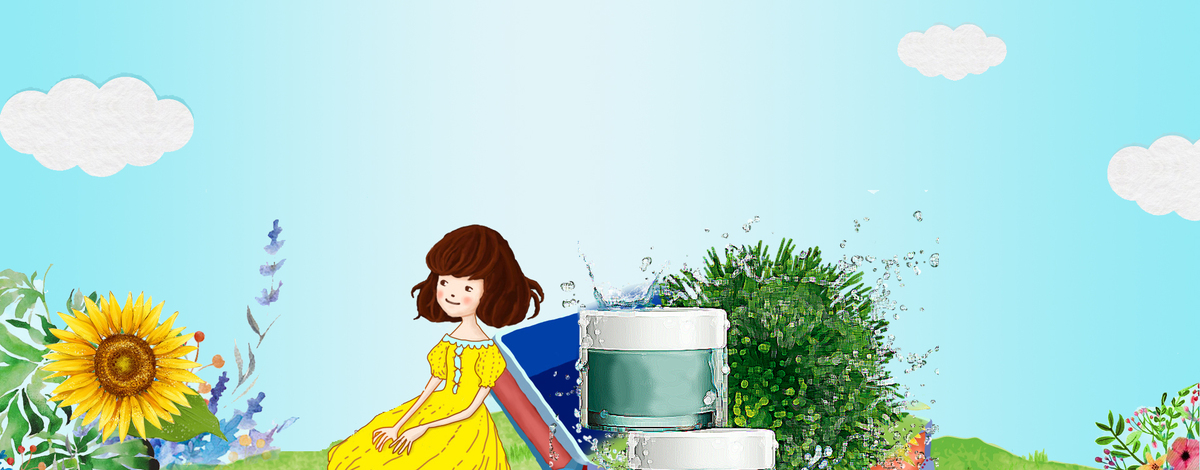 夏日美妆手绘蓝天白云背景