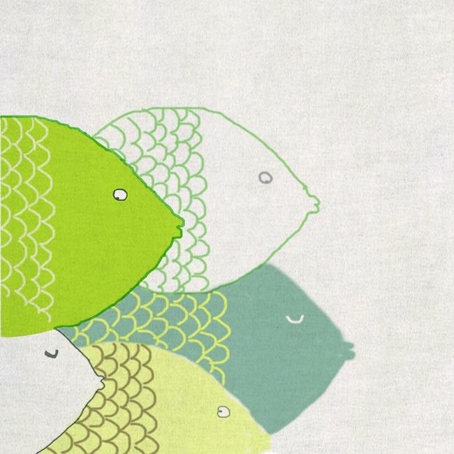 简笔画童趣金鱼手绘绿色清新