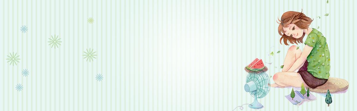 夏日文艺乘凉吃西瓜卡通手绘蓝色条纹背景
