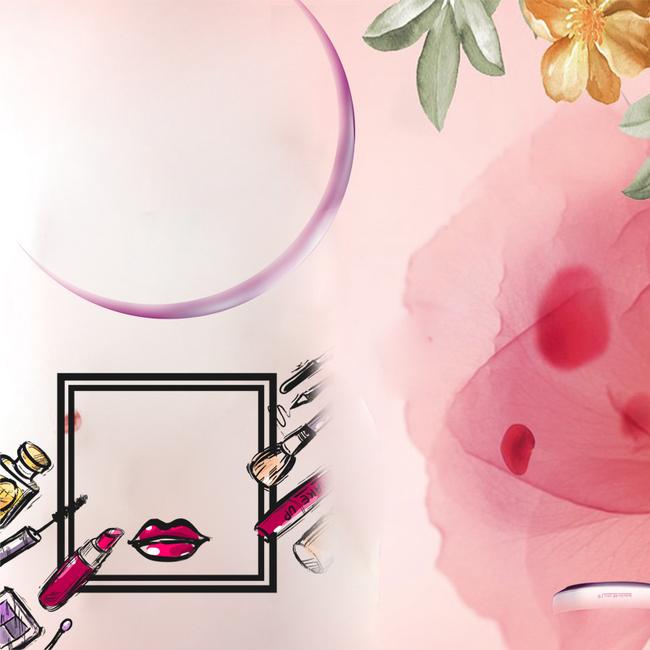 粉色手绘口红美妆psd分层主图背景素材图片