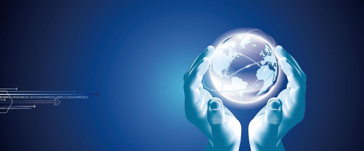 科技风蓝色渐变简约商务企业海报背景图片