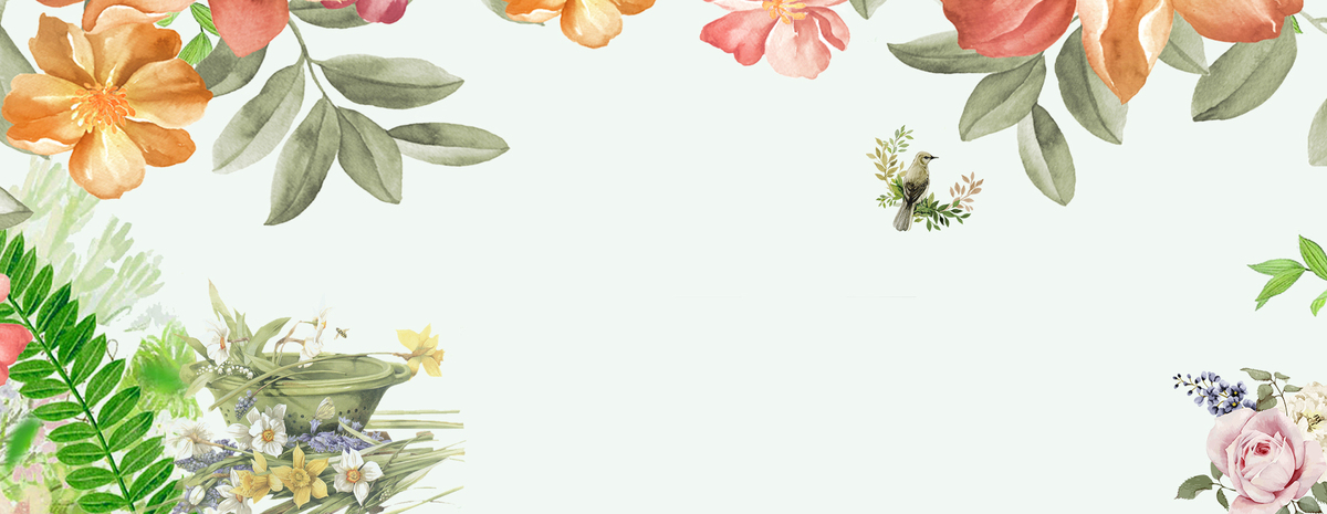 夏季七月淡雅绿色手绘花卉海报背景