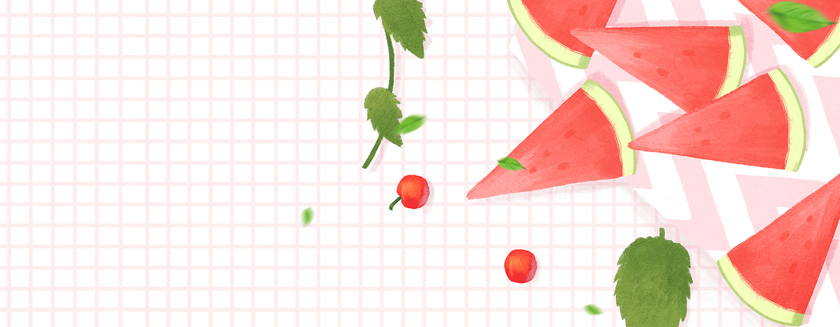 西瓜卡通手绘小清新粉色背景