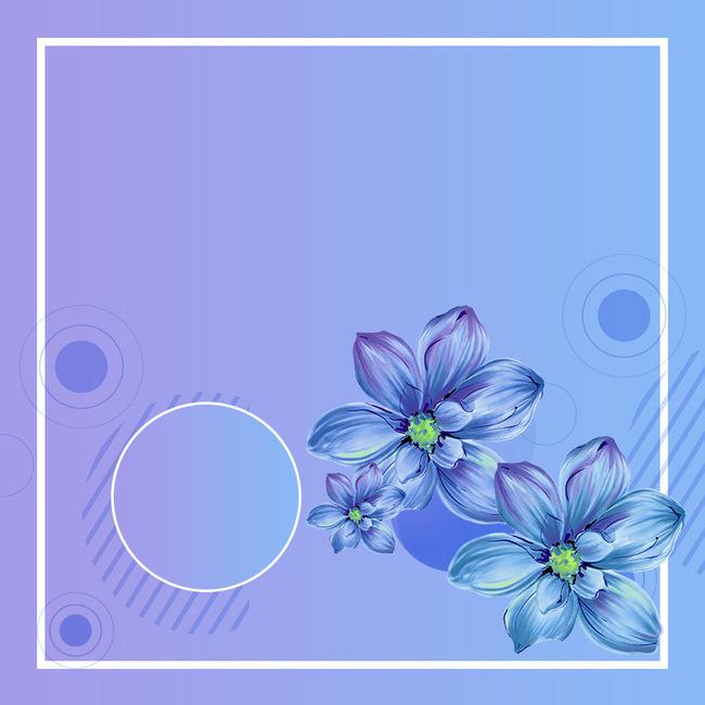 蓝色简约手绘花朵服装psd分层主图背景psd素材-90设计