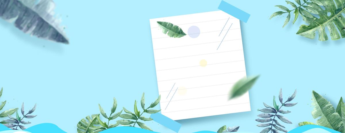 夏季文艺小清新树叶几何蓝色背景图片