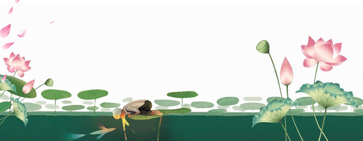 大暑大气荷花中国风手绘背景