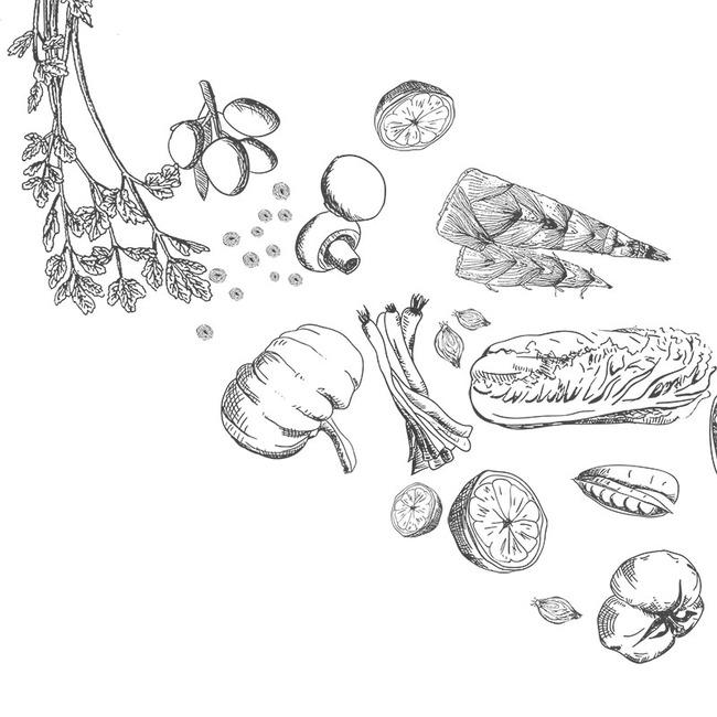 简约食物手绘铅笔画背景图片