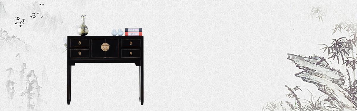 中国古典绘画简笔画中国风灰色背景psd素材-90设计