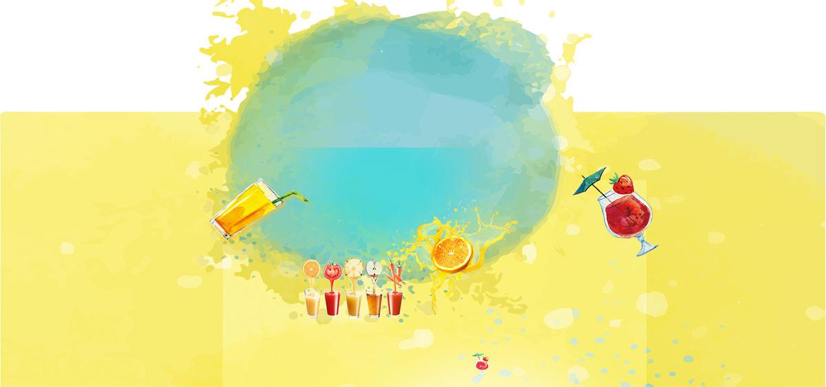 夏季饮品扁平手绘黄色淘宝海报背景