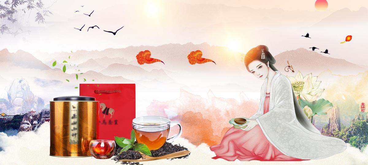 中国风古风茶叶电商海报背景bannerpsd素材-90设计