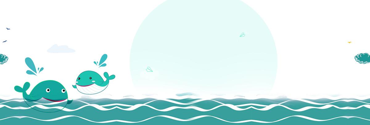 幼儿园海底背景墙北欧背景墙北欧海鸥手绘小船鲸鱼图片