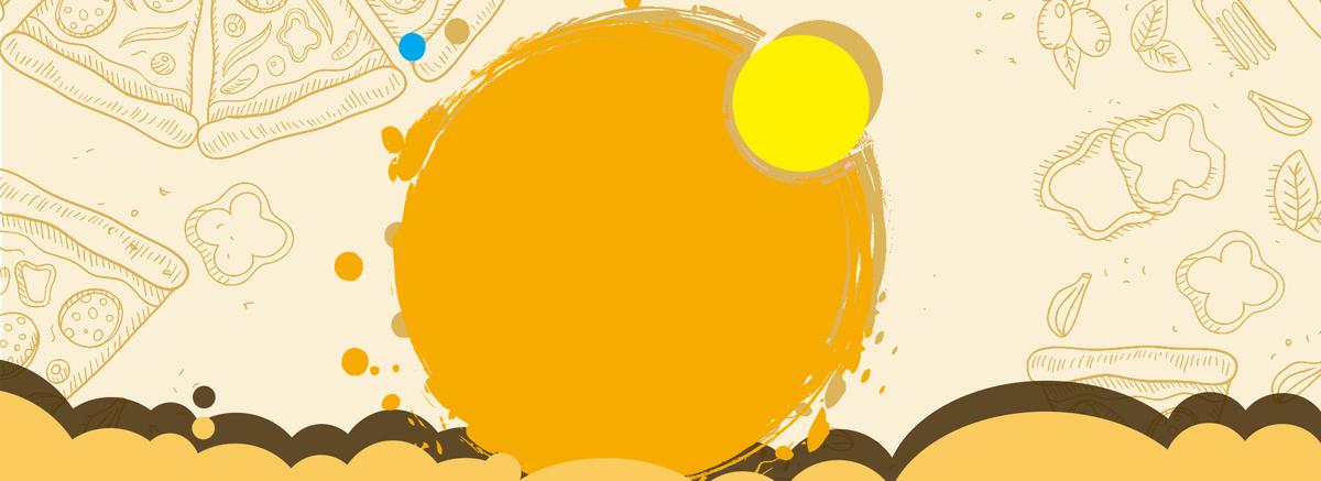 食物手绘黄色海报背景banner