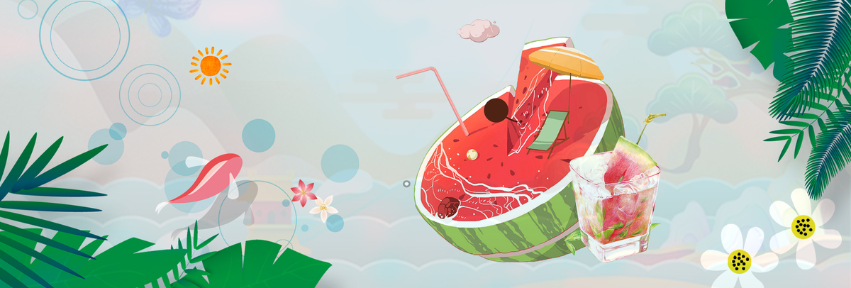 电商淘宝夏季美食主题小清新西瓜海报