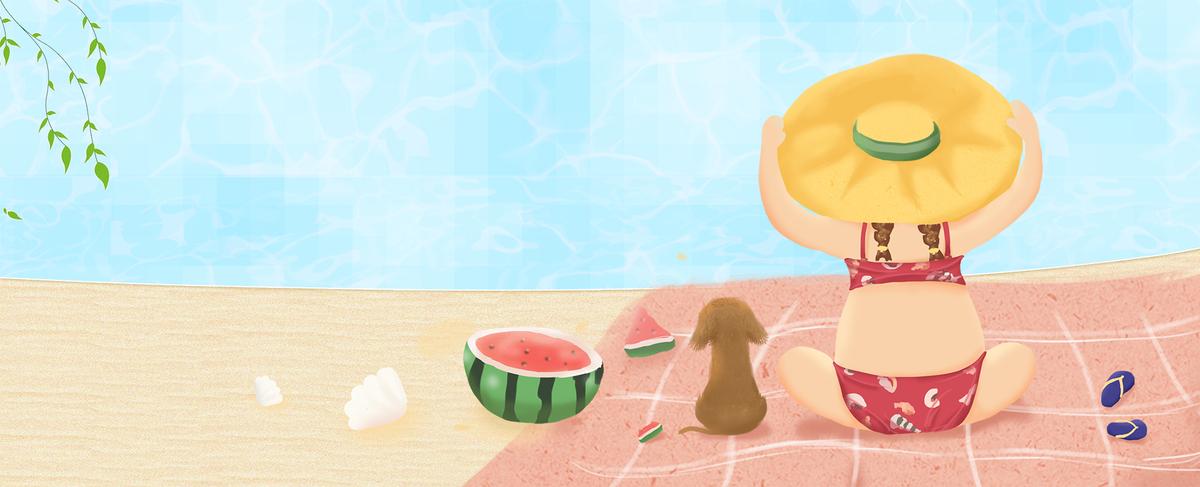 大暑可爱手绘女孩吃西瓜卡通蓝色背景