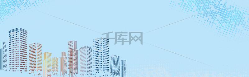 科技方块高楼城市banner背景