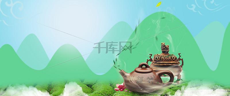 茶艺卡通绿色海报背景banner