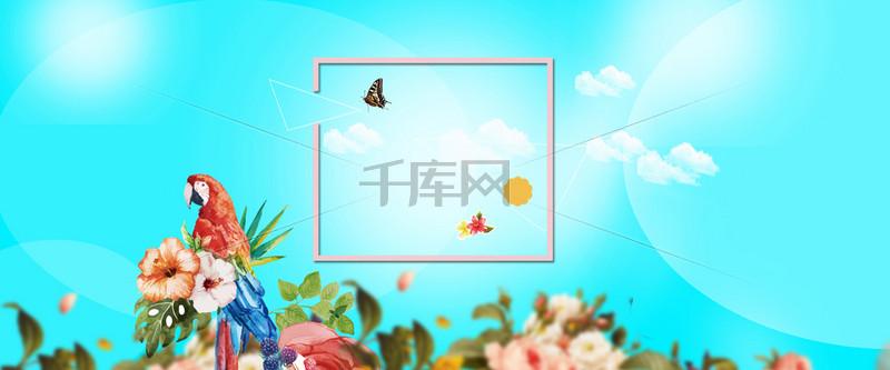 淘宝夏日蓝色花卉女装banner