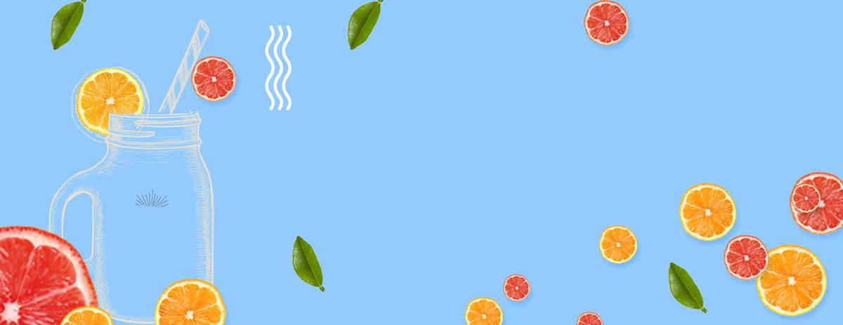 小清新手绘水果茶蓝色背景
