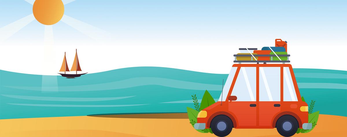 暑期自驾游卡通手绘扁平海边蓝色背景