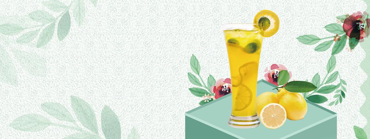 夏日酷饮柠檬汁简约手绘树叶绿色背景