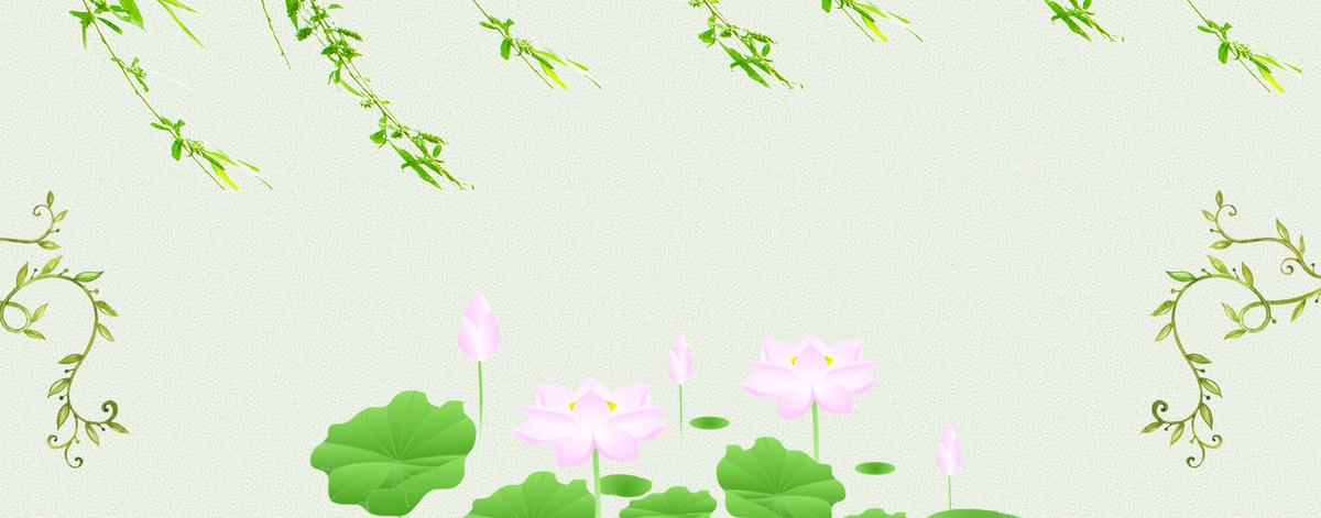 大暑文艺小清新树叶绿色背景图片