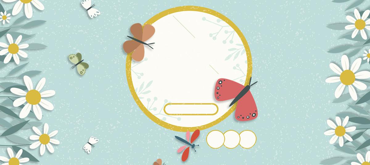 90设计提供八月你好小清新文艺蝴蝶手绘蓝色背景设计素材下载,高清psd