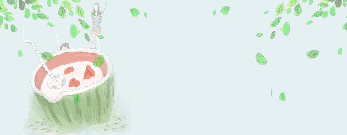 大暑文艺西瓜绿叶小清新绿色背景