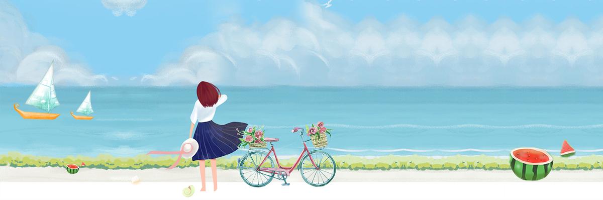 大暑海边采风动漫风卡通蓝色背景