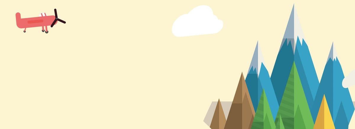 山峰卡通手绘淡色海报背景