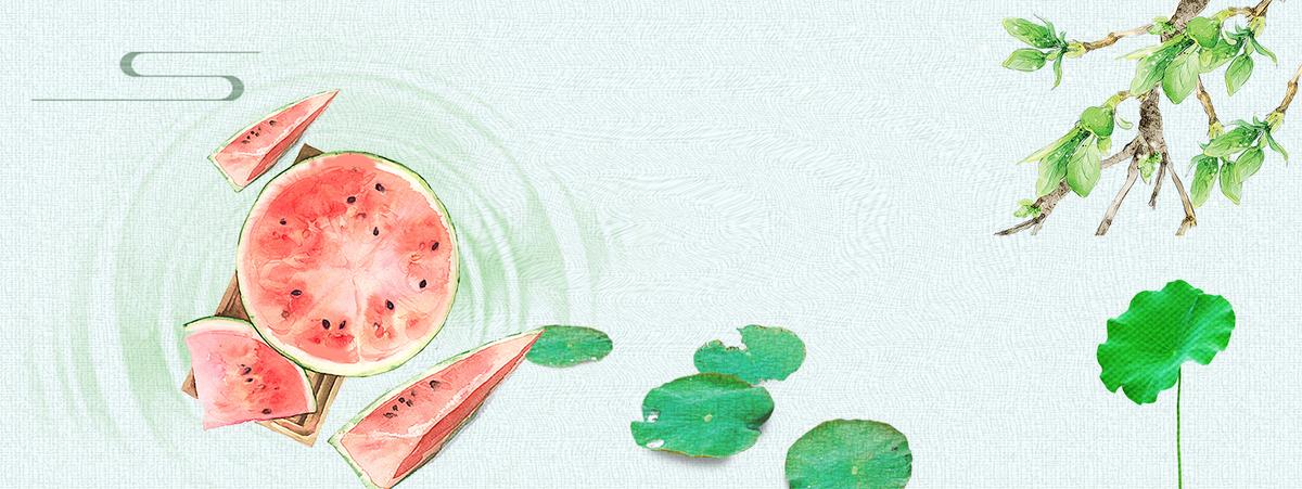 大暑手绘西瓜荷叶小清新简约绿色背景