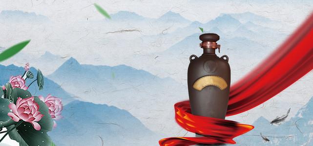 中国风陈年白酒宣传海报背景