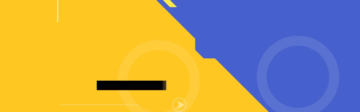 黄色蓝色拼接圆方框banner背景图